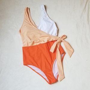 NWT Cupshe Orange and White Wrap Tie One Piece